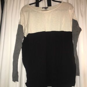 Black, white and grey scoop neck sweater